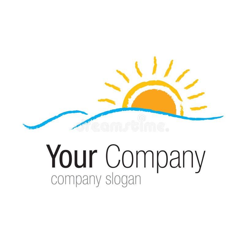 Logo Sun au-dessus de mer illustration de vecteur