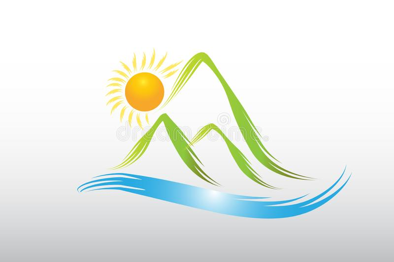Logo sun and green mountains icon vector design vector illustration