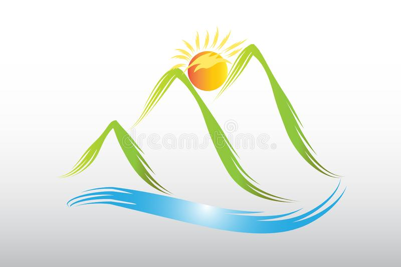 Logo sun and green mountains icon web vector design royalty free illustration