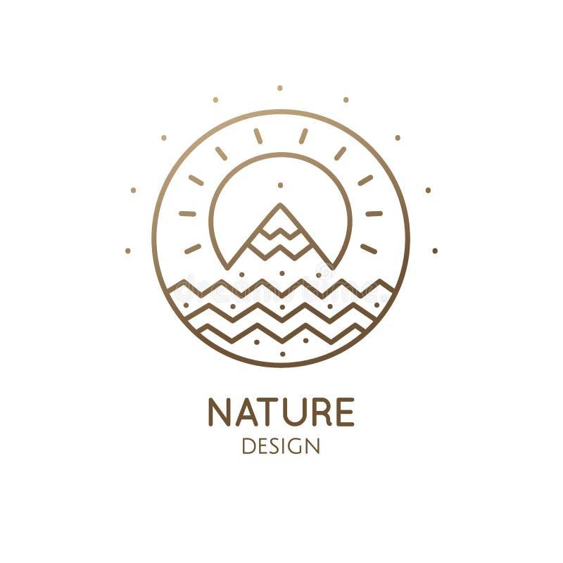 Logo sunny mountain river royalty free illustration