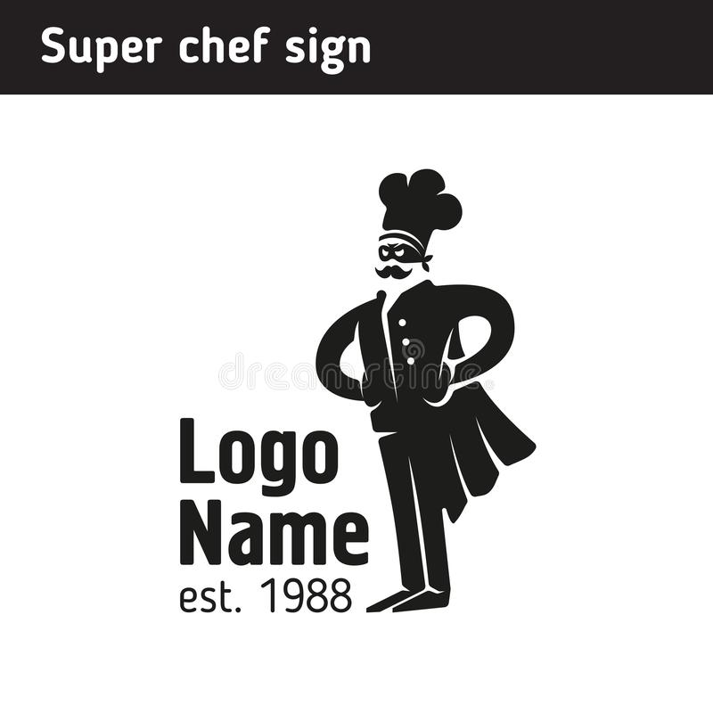 Sign super cook in a cap royalty free illustration