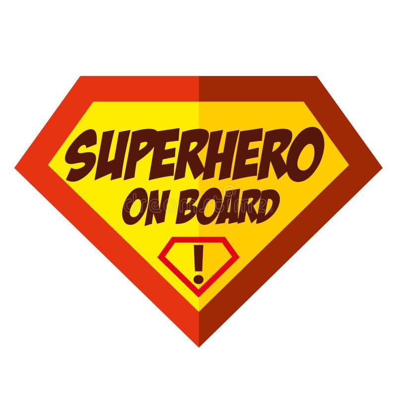Logo superbe de super héros de bébé à bord illustration de vecteur