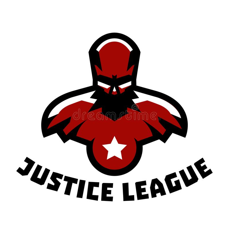 Logo superhero. Superman costume. Justice League. Muscular body. Vector illustration. Flat style. Logo superhero. Superman costume. Justice League. Muscular body royalty free illustration