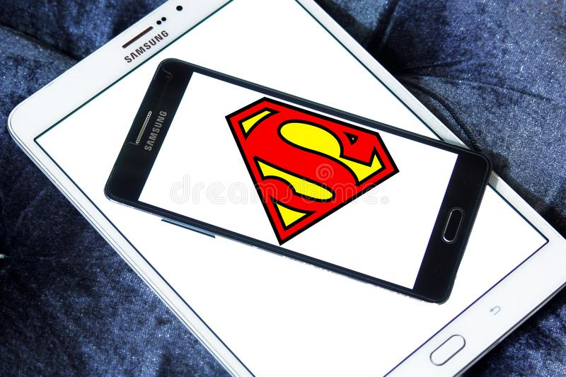 Superman logo. Logo of Superman on samsung mobile. Superman is a fictional superhero appearing in American comic books published by DC Comics royalty free stock image
