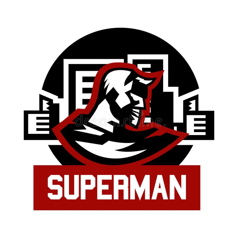 Logo superman. Superhero costume, cape, town. Vector illustration. Flat style stock illustration