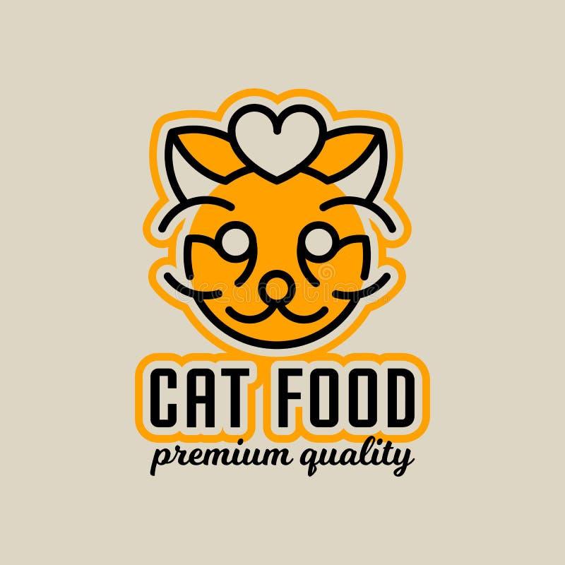 Logo sur le thème de la nourriture pour des chats La tête du chat, coeur Illustration de vecteur ligne style illustration de vecteur