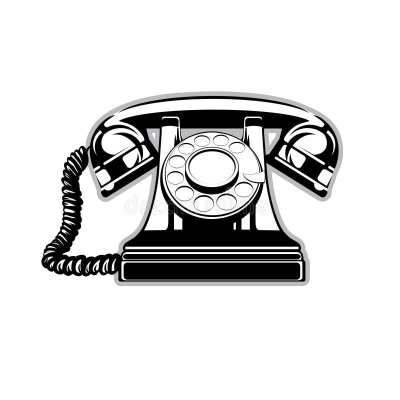 Logo sylwetka stary domowy telefon z tarczą ilustracja wektor
