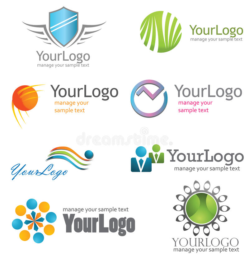Logo Symbol. Symbol logo set, company identity pack stock illustration