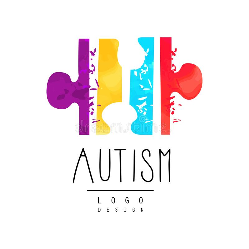 Bright-colored logo with symbol of autism. Vector emblem with puzzle. Genetic disorder. Down Syndrome theme. Design for royalty free illustration