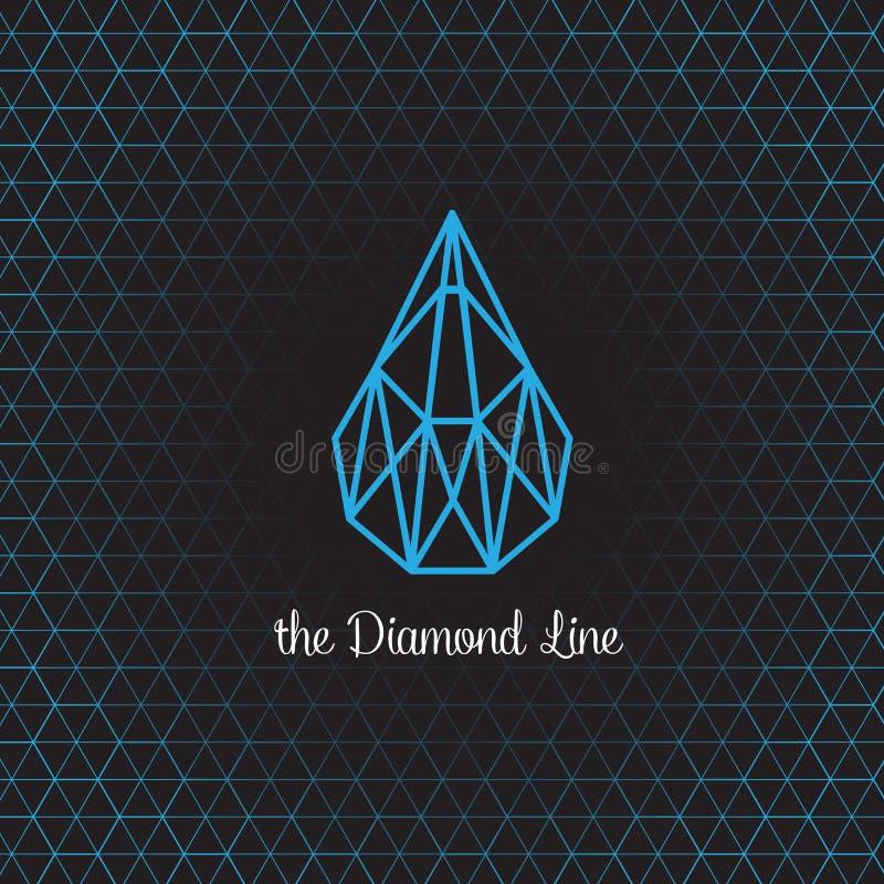 Logo and symbol design about line of diamond stock illustration