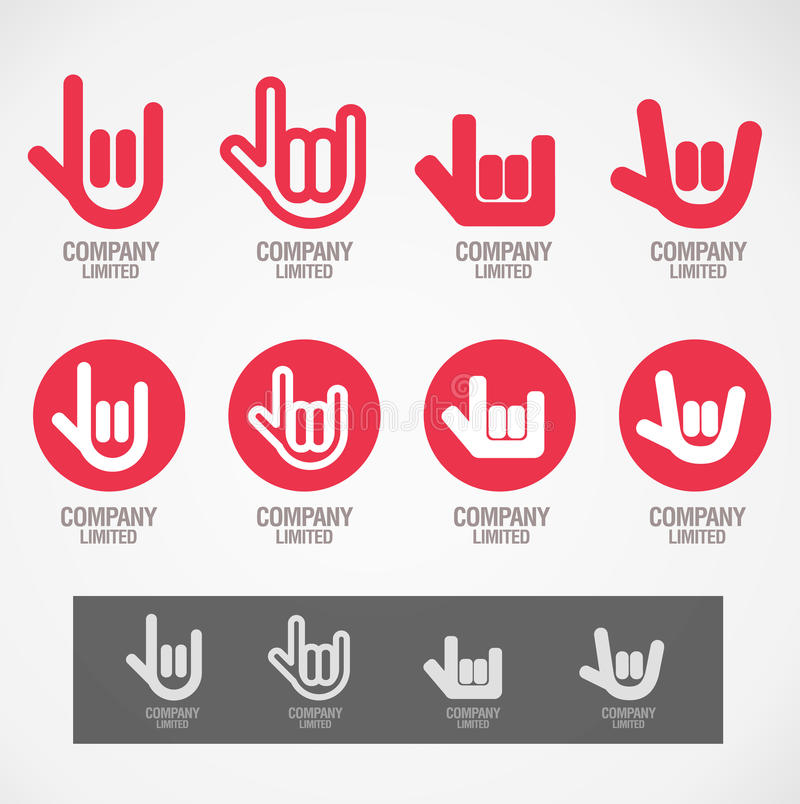 Logo and Symbol design Rock hand and Love hand vector illustration