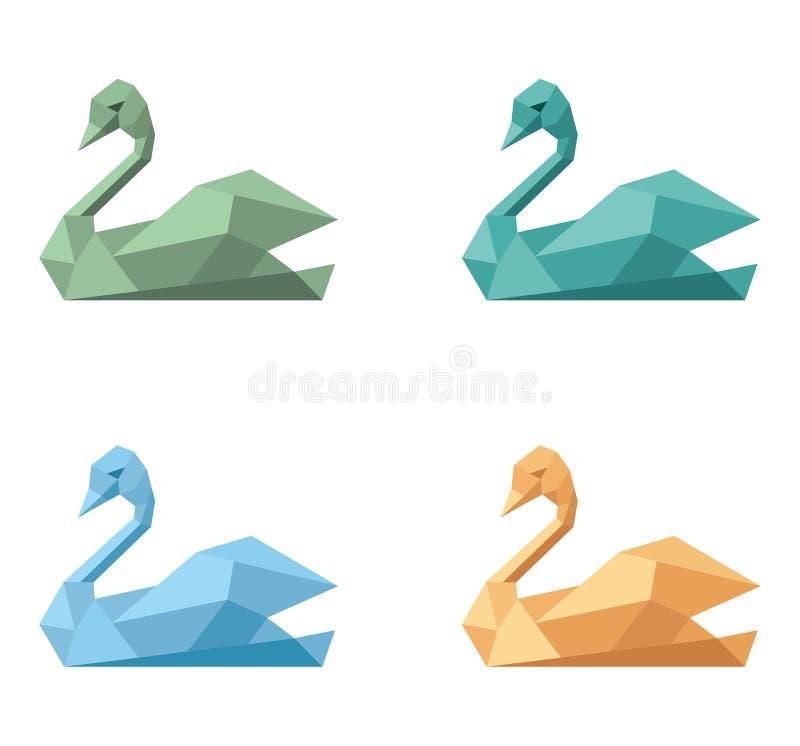 Logo symbol emblem swan. Polygonal variations colors set royalty free illustration