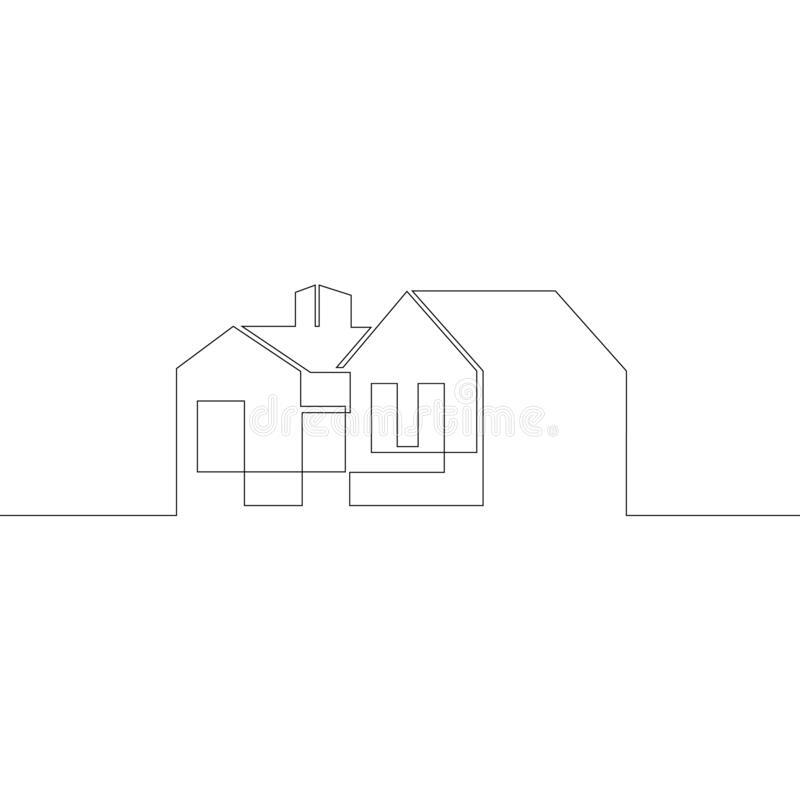 logo symbol modern european house architecture exterior design one continuous drawing line single hand drawn art doodle 192447354