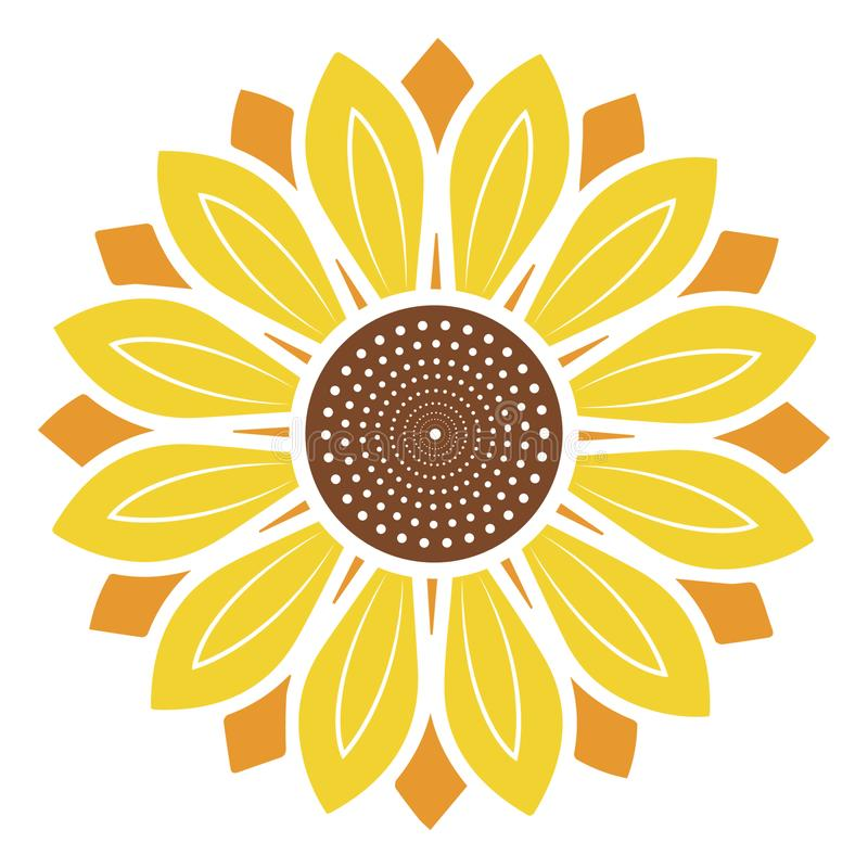 Logo and symbol of sunflower vector illustration in flat style. Vector Illustration on white background royalty free stock images