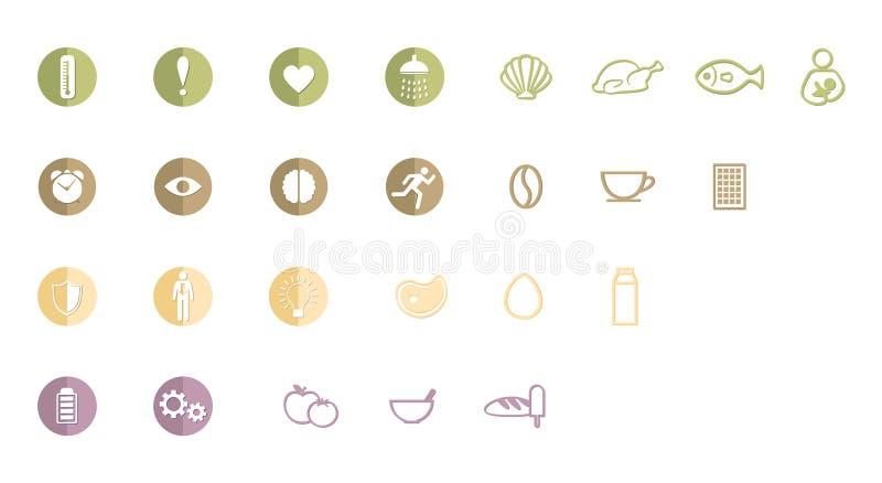 Logo, symboler eller pictograms av attribut av sunt liv som blir passformen och fullt av energi och att ha bra liv q stock illustrationer