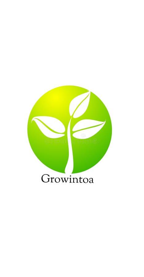 Logo symbolique de croissance de plantes illustration libre de droits