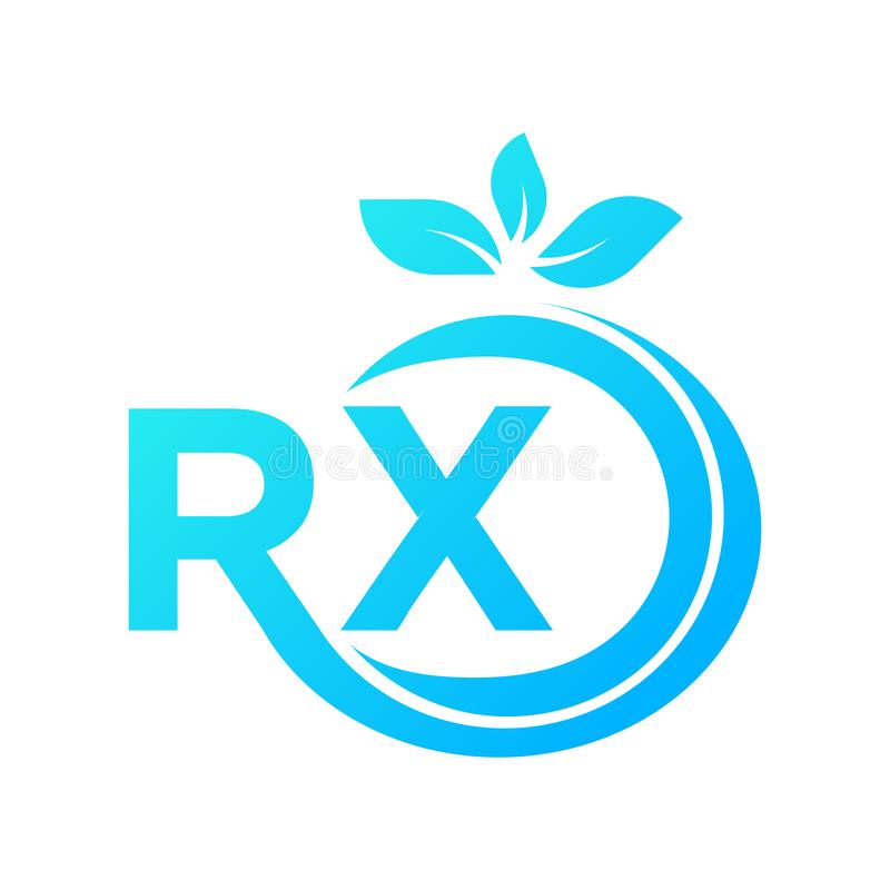 Logo szablon ??cz?cy z listami R i X, jest pewny przed?u?y? i przy ko?c?wk? s? li?cie tam ilustracja wektor