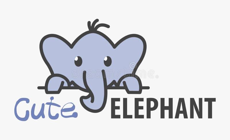Logo szablon z ślicznym słoniem Wektorowy logo projekta szablon dla zoo, weterynaryjne kliniki Kreskówka afrykański zwierzęcy log ilustracja wektor