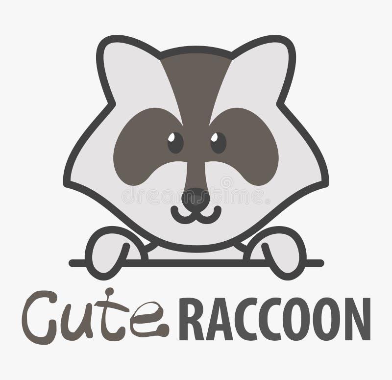 Logo szablon z ślicznym szop pracz Wektorowy logo projekta szablon dla zoo, weterynaryjnych klinik i zwierzęcych schronień, Kresk ilustracja wektor