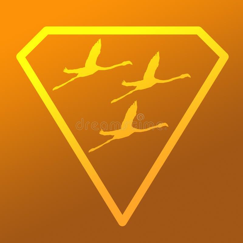 Logo sztandaru wizerunku Latającego ptaka flaming w Diamentowym kształcie na Żółtym Khakim tle ilustracja wektor