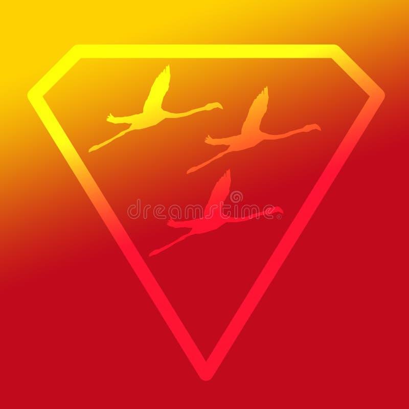 Logo sztandaru wizerunku Latającego ptaka flaming w Diamentowym kształcie na Żółtym Pomarańczowym tle ilustracji