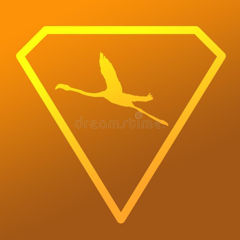 Logo sztandaru wizerunku Latającego ptaka flaming w Diamentowym kształcie na Khakim Pomarańczowym tle royalty ilustracja