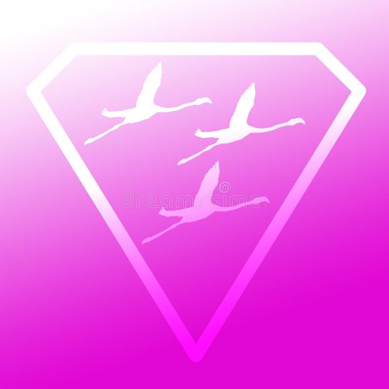 Logo sztandaru wizerunku Latającego ptaka flaming w Diamentowym kształcie na Magenta Purpurowym tle ilustracji