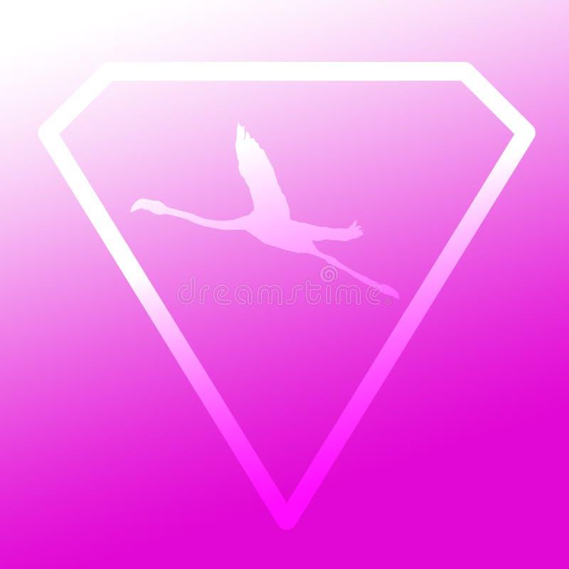 Logo sztandaru wizerunku Latającego ptaka flaming w Diamentowym kształcie na Magenta tle ilustracji