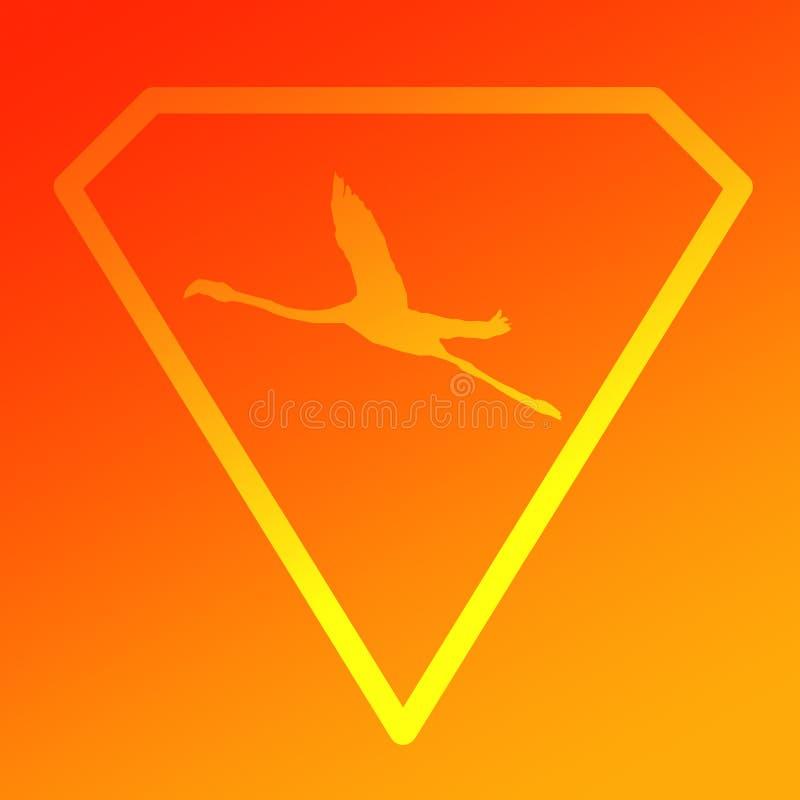 Logo sztandaru wizerunku Latającego ptaka flaming w Diamentowym kształcie na Pomarańczowego koloru żółtego tle ilustracji