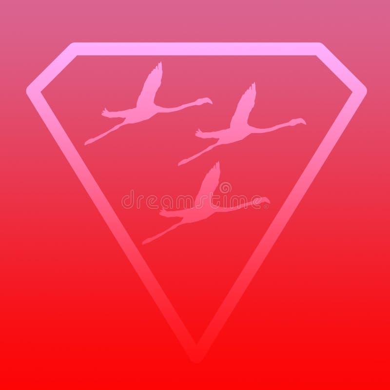 Logo sztandaru wizerunku Latającego ptaka flaming w Diamentowym kształcie na Różowym Czerwonym tle ilustracji