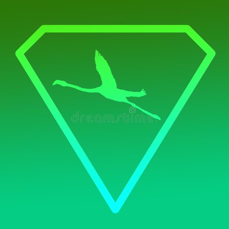Logo sztandaru wizerunku Latającego ptaka flaming w Diamentowym kształcie na Zielonym tle ilustracji