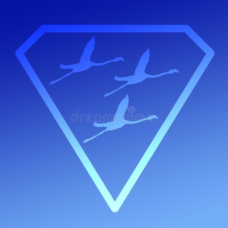Logo sztandaru wizerunku Lataj?cego ptaka flaming w Diamentowym kszta?cie na B??kitnym tle ilustracji