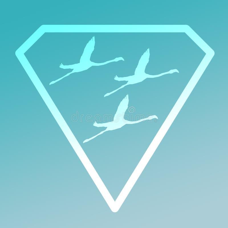 Logo sztandaru wizerunku Lataj?cego ptaka flaming w Diamentowym kszta?cie na Turkusowym tle ilustracji