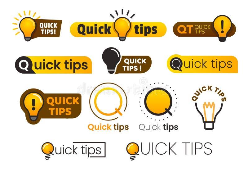 Logo szybkie porady Żółta lightbulb ikona z quicks porady tekstem Lampa rada pomysłu sztandaru wektorowy set ilustracja wektor