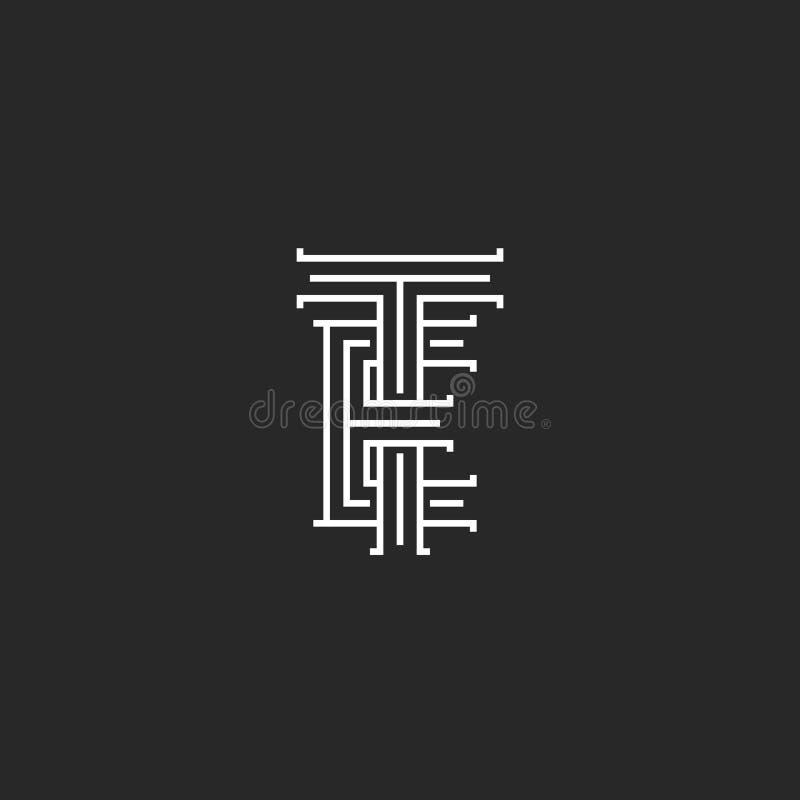 Logo TE pone letras a la maqueta medieval linear del monograma, a las líneas paralelas arte Y marca creativa del diseño, a dos in libre illustration