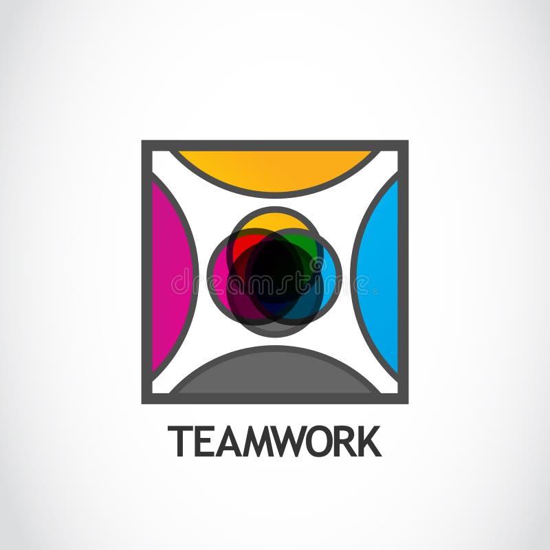 Logo Teamwork stock illustrationer