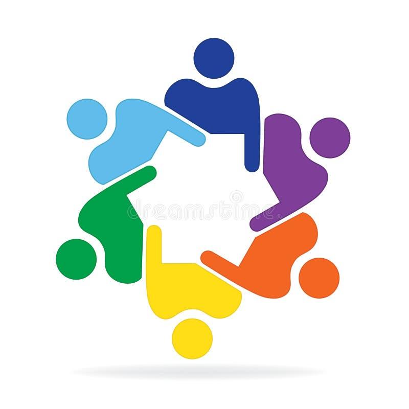 Logo teamwork business meeting people colorful design stock illustration