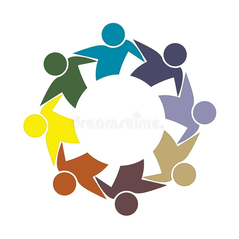 Logo teamwork hug friendship unity business colorful people icon logotype vector. Logo teamwork friendship unity business colorful people icon logotype vector stock illustration