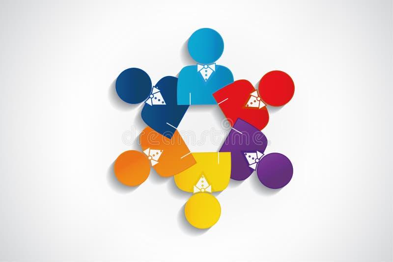 Logo teamwork manager meeting people design vector illustration