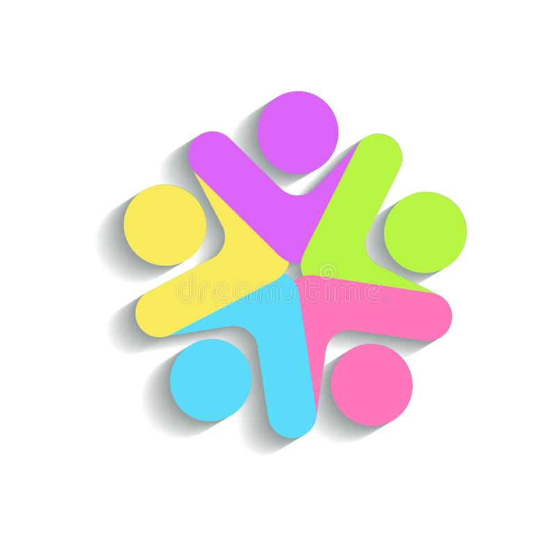 Logo teamwork people colorful abstract star shape stock illustration