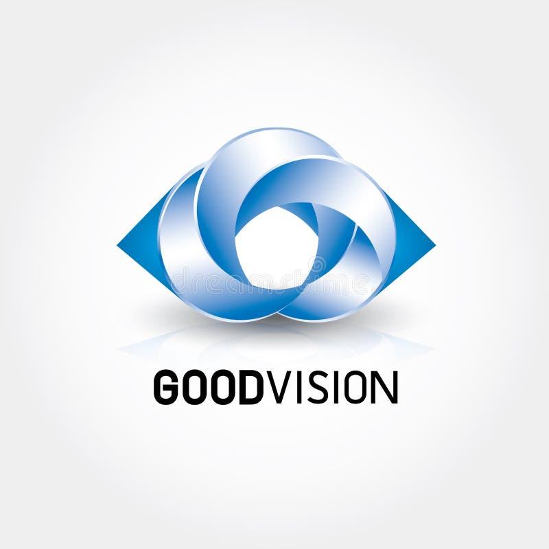 Logo technique géométrique créatif d'yeux bleus illustration stock