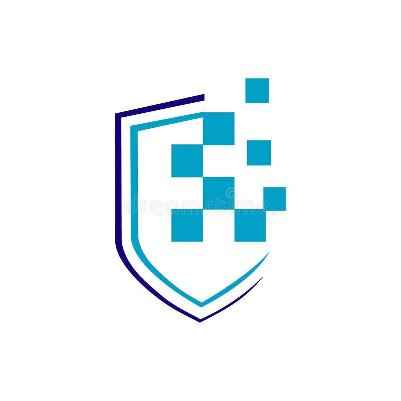 logo tecnico vettoriale dell'icona pixel di digital signage illustrazione di stock
