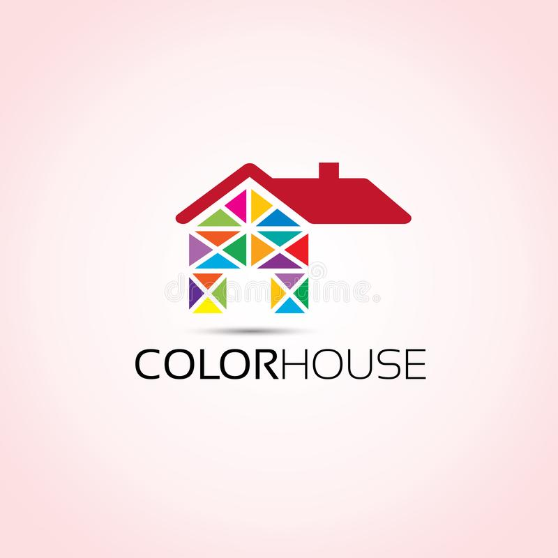 Colored House Home Logo royalty free illustration