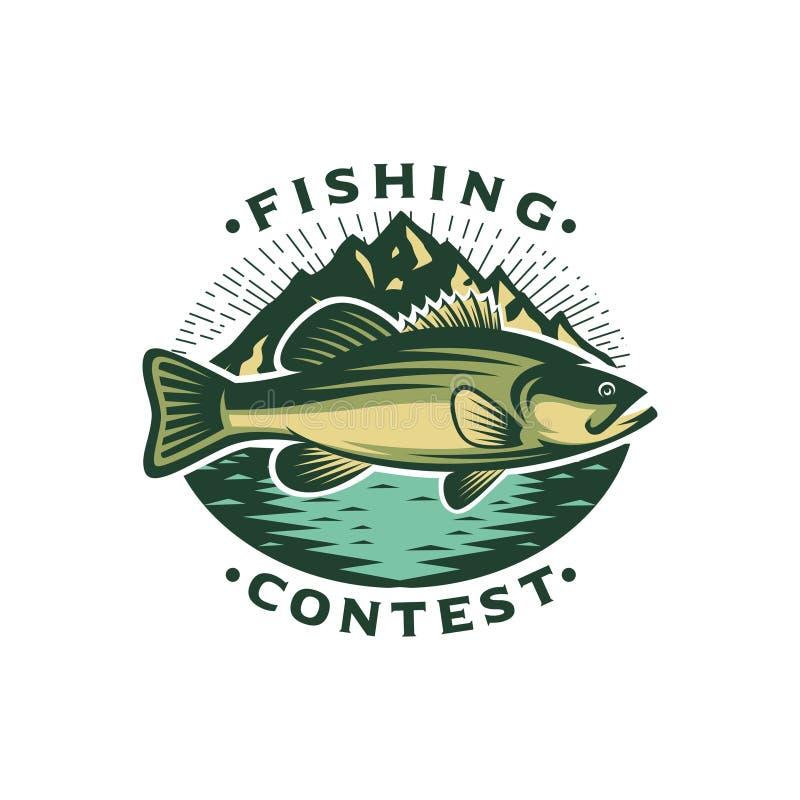 Logo Template Bass Fish con la montagna illustrazione di stock