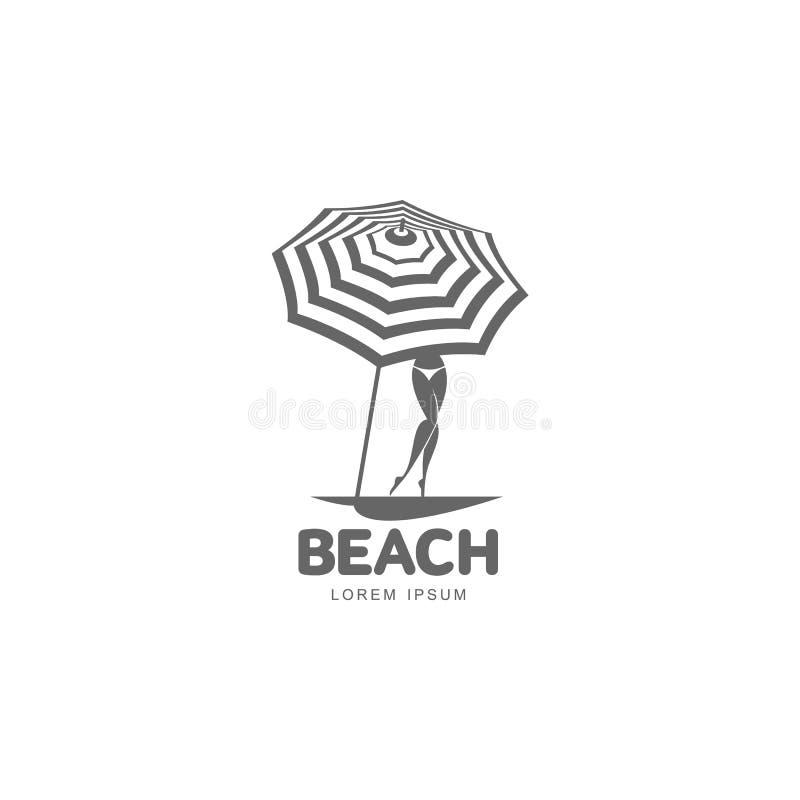 Logo template with beach umbrella and woman in bikini royalty free illustration