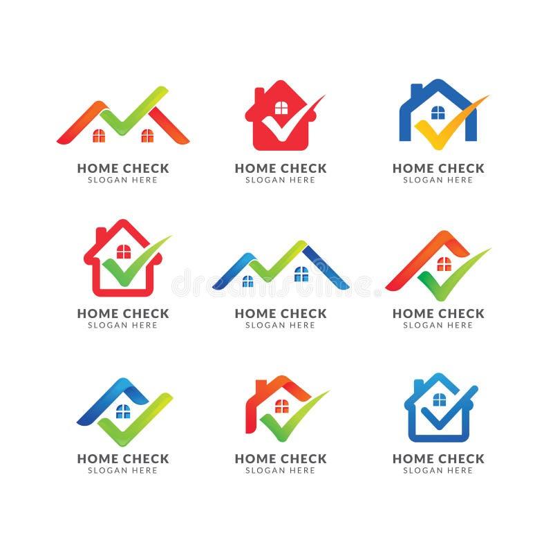 Logo Template casero con la marca de verificación Logotipo para la agencia inmobiliaria real diseño del símbolo del icono del hog stock de ilustración