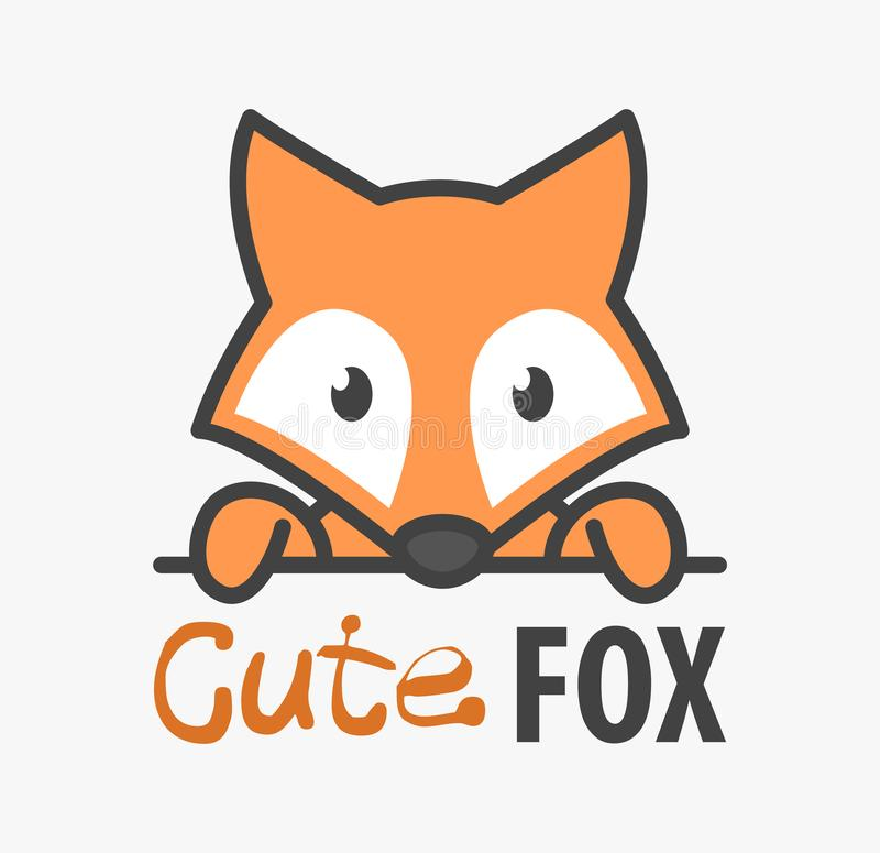 Logo template with cute fox. Vector logo design template for zoo, veterinary clinics and animal shelters. Cartoon foxy logo stock illustration