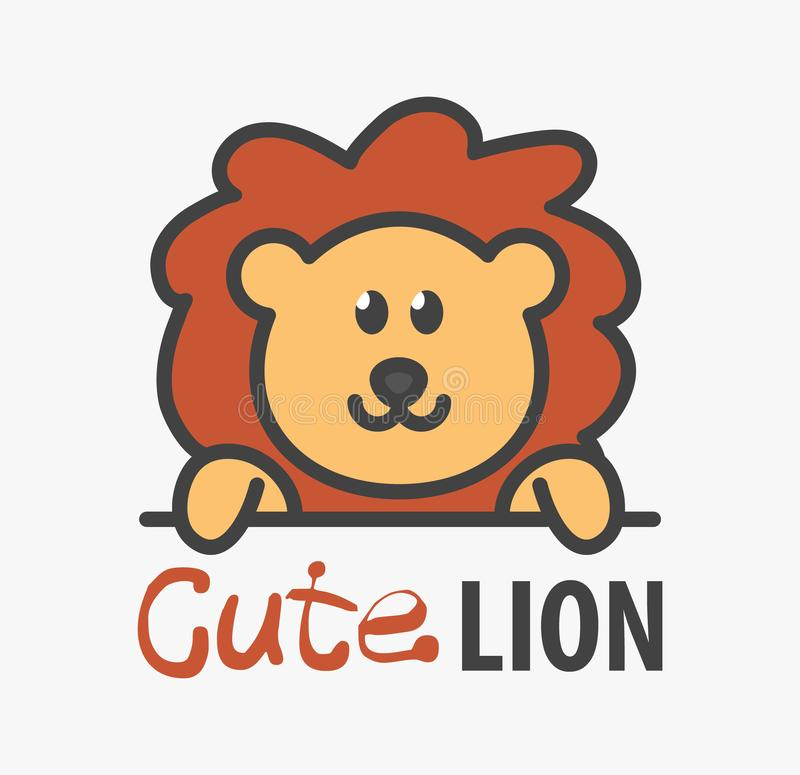Logo template with cute lion. Vector logo design template for zoo, veterinary clinics. Cartoon african animal logo illustration stock illustration