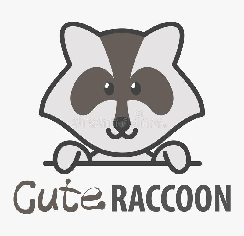 Logo template with cute raccoon. Vector logo design template for zoo, veterinary clinics and animal shelters. Cartoon coon logo. vector illustration