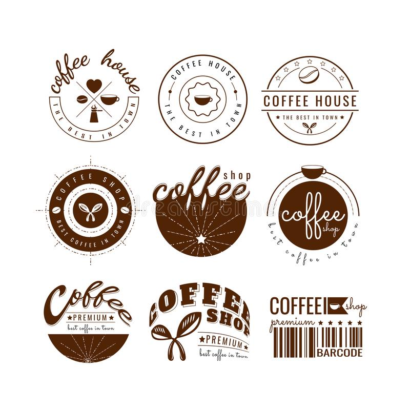 Logo Template för kaffekopp vektor På vitbakgrund Symbolsdesign royaltyfri illustrationer